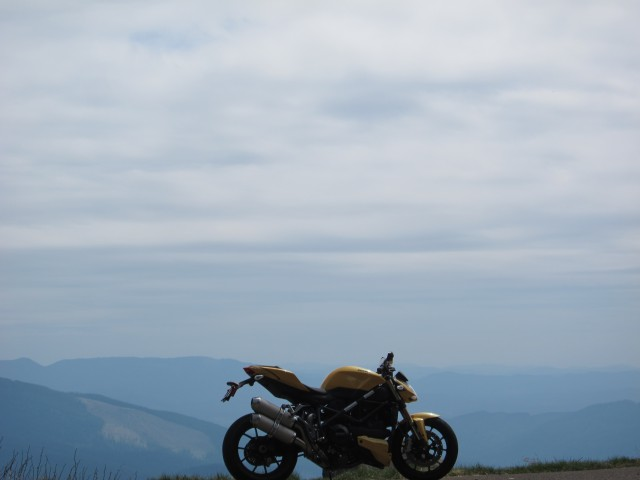 The Ducati Streetfighter is looking great! Mary's Peak, May 19, 2012