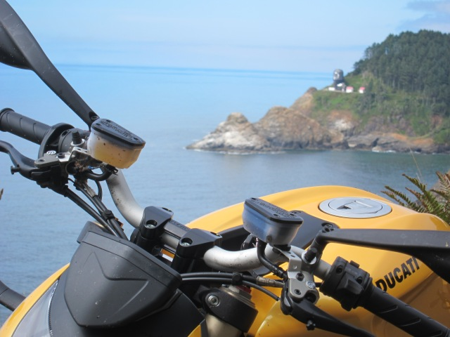 The Ducati and the Heceta Lighthouse on the background. August 19th, 2012