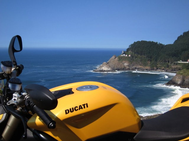 The Yellow Ducati and the Heceta Lighthouse. September 23rd, 2012