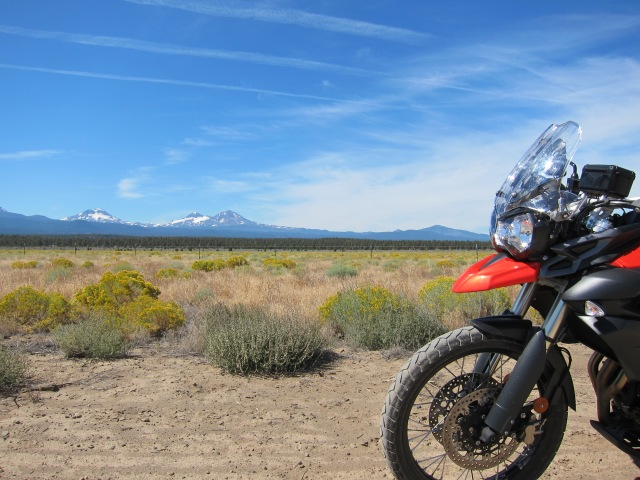 The Triumph and the Three Sisters. Just outside Sisters, Oregon, September 2nd, 2012