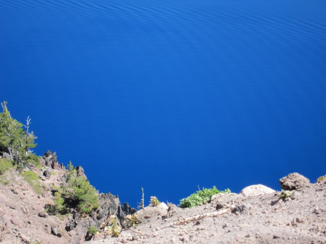 Looking down at the lake, beautiful, deep blue color. Crater Lake, September 2nd, 2012