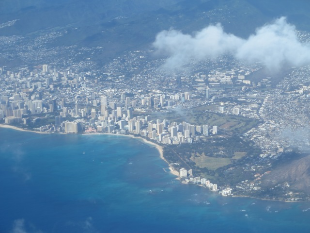 Waikiki views from soon after take off from HNL. December 16th, 2012