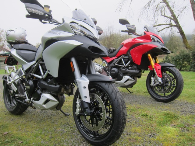 The 2013 Multistrada (Silver) and the 2010 Multistrada (Red)