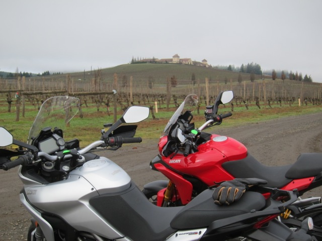 The 2013 and the 2010 Ducati Multistrada 1200 S at the King Estate Winery