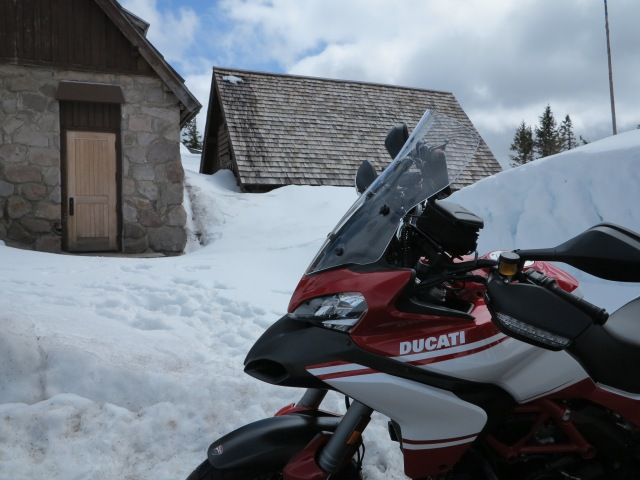 The Multistrada and the Snow. Crater Lake, Oregon. April 21st, 2013