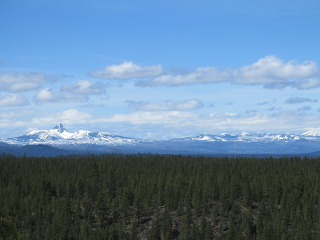 View of session if the Cascades from Three Creek Lake Rd.