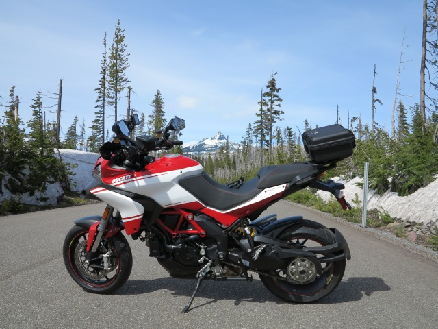 At Santiam Pass with Three Fingered Jack on the background.