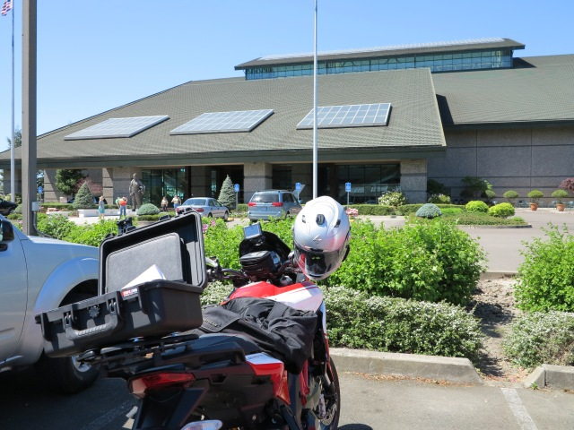 The bike in front of the Evergreen Aviation Museum