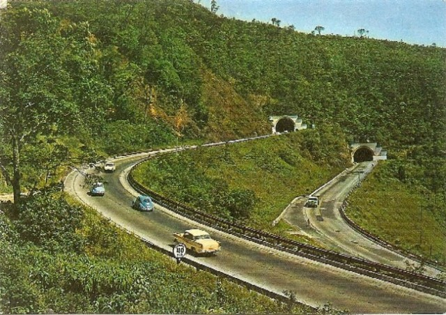 Old postcard of Highway in Brazil, near São Paulo.