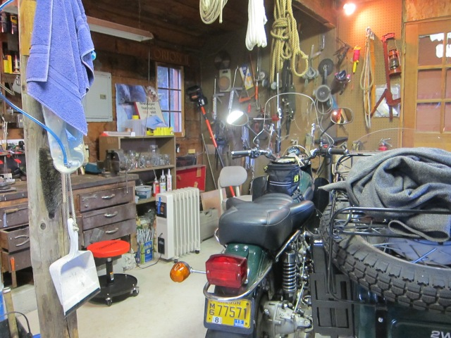 John's motorcycle shed, from a January 2013 visit