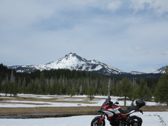 The Multistrada and a view of South Sister. May 11, 2013