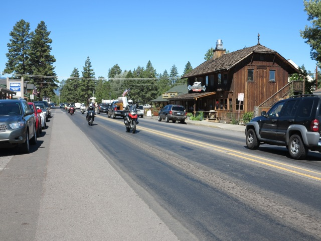 The group of riders arriving in Sisters, June 30, 2013