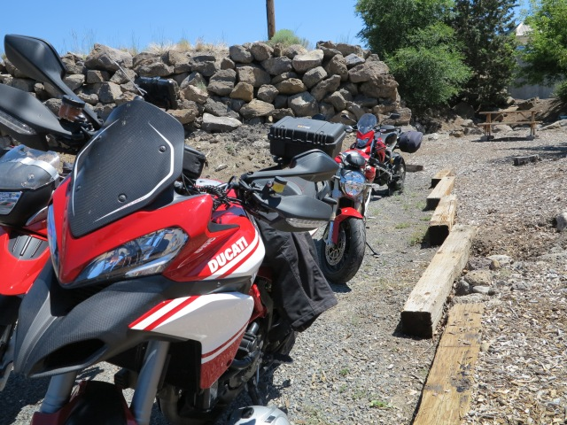 Some of the bikes in the parking area of the restaurant