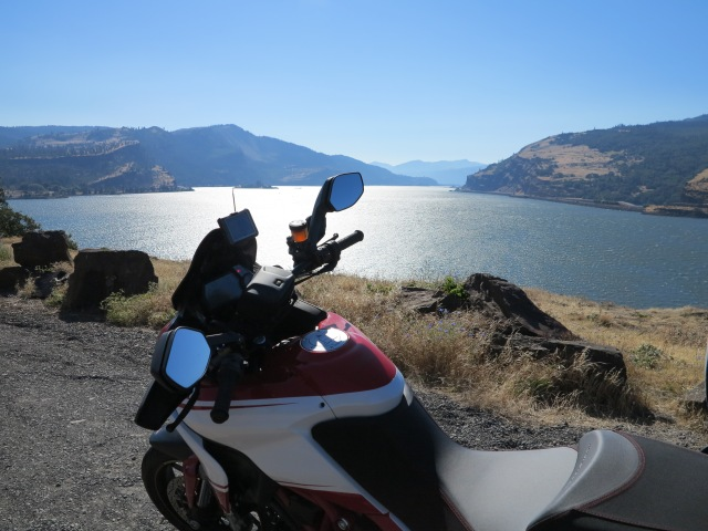 The Multistrada on Hwy 30 at the Columbia Gorge