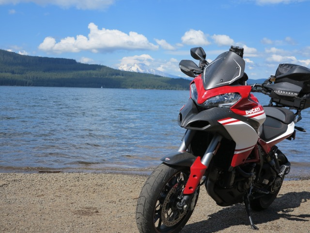 The Multistrada at Timothy Lake
