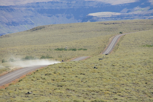 Riding the south access road on my way to the top of the Steens Mountain