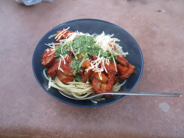 Pasta,tomato sauce, sausage, cheese and pesto. It was perfect!