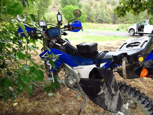 The little Yamaha under a tree. Water was coming down. September 2nd, 2013