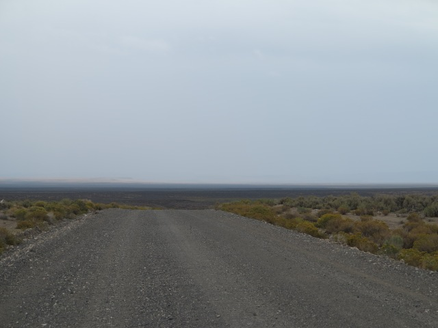 Looking back, towards the Steens Mountain area