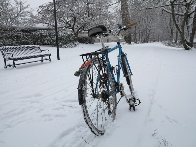 The bicycle and the snow in the bike path. December 6th, 2013