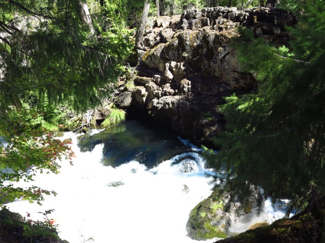 Rogue River coming out from under a natural rock bridge