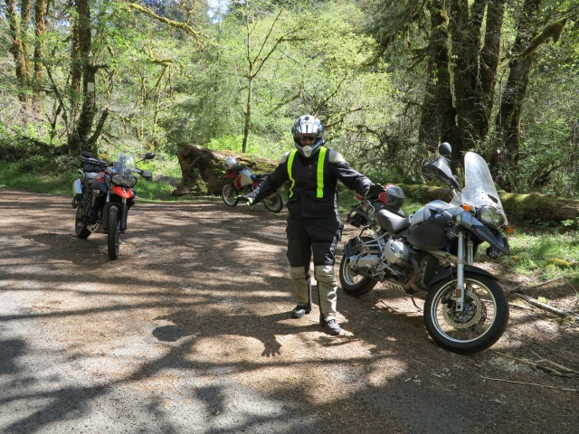 Kyle and his BMW R1200GS at Whitaker River Rd