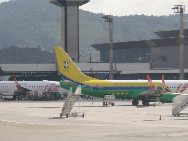 Livery of a Brazilian airlines (Gol) plane celebrating Brazil's win on the Confederations Cup of last year.