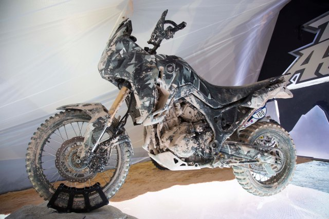 Peg-side view of the bike