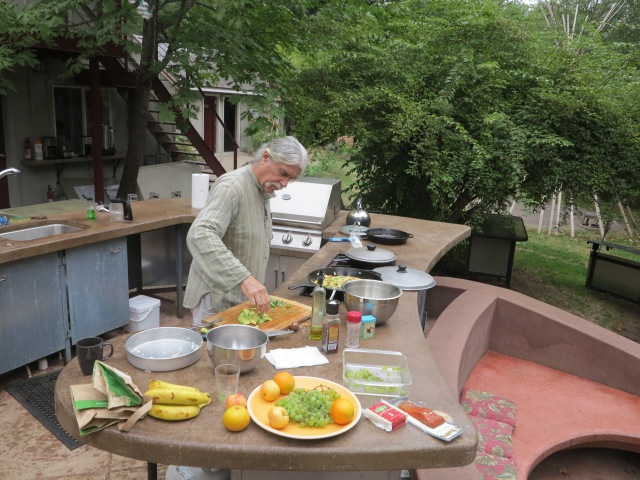Ken at the Tipi Village outdoor's kitchen