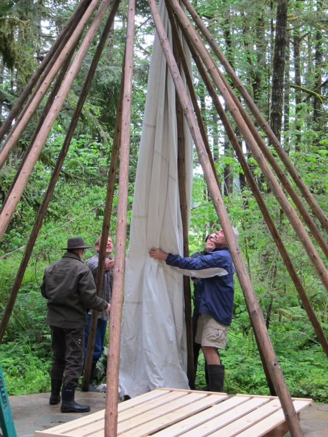 Canvas back on the Tipis, an annual Spring task.