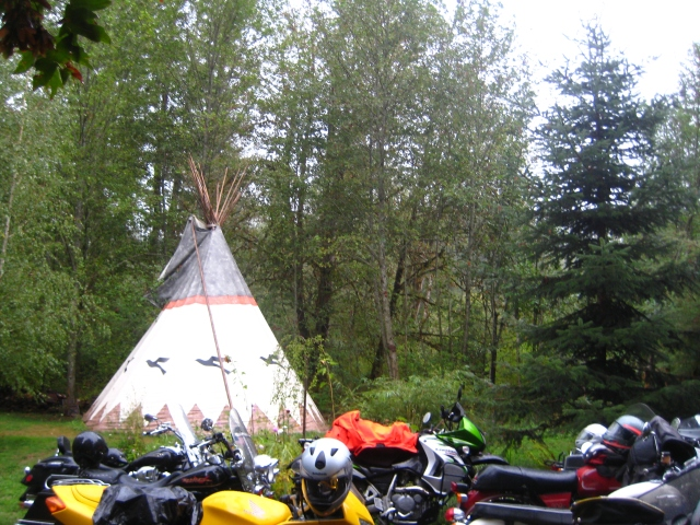 Bikes gathered at the Tipi Village before a Tipi to Tower event.