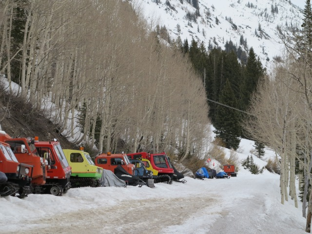 Snow machines, end of ski season, Snow Bird, Utah