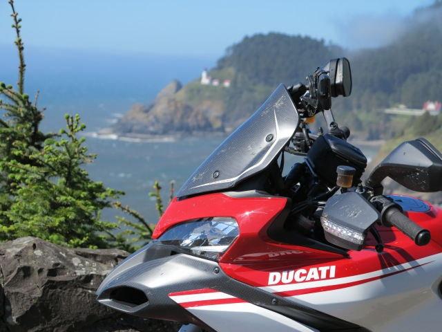 The Ducati and the Heceta Lighthouse