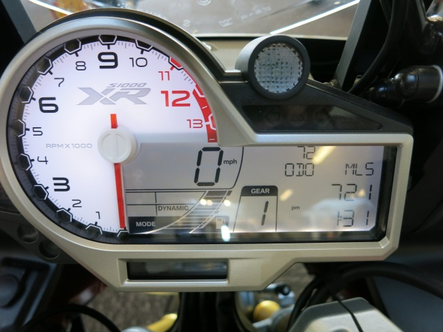 RP, speedo, riding mode, fuel level and gear indicator.