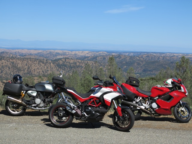 Three Ducatis and the Platina Road.