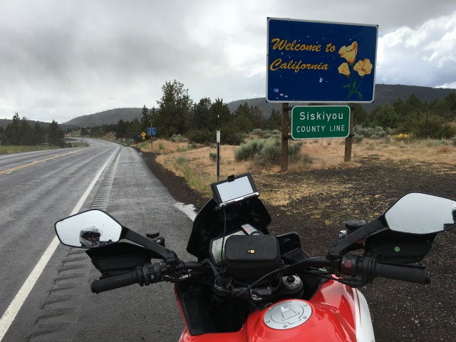 The Multistrada Pikes Peak entering California for the fourth time.