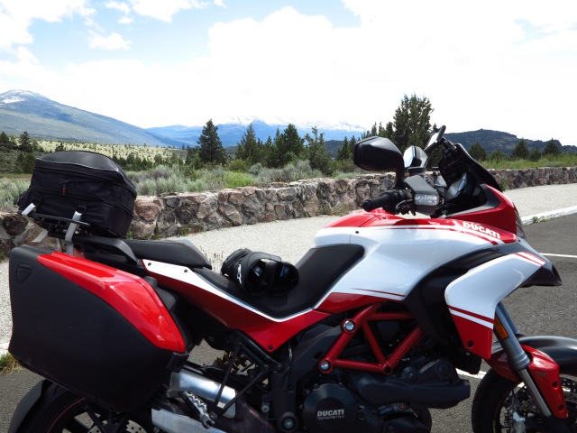 The Multistrada with Mt Shasta on the background