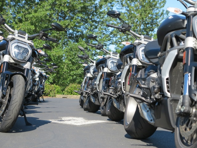 An XDiavel line up - ready for organized test rides in the PIR, May 2016