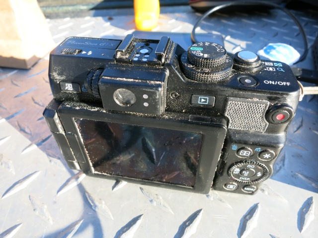 The G1X camera after about 1 minute of exposure to the sand storm