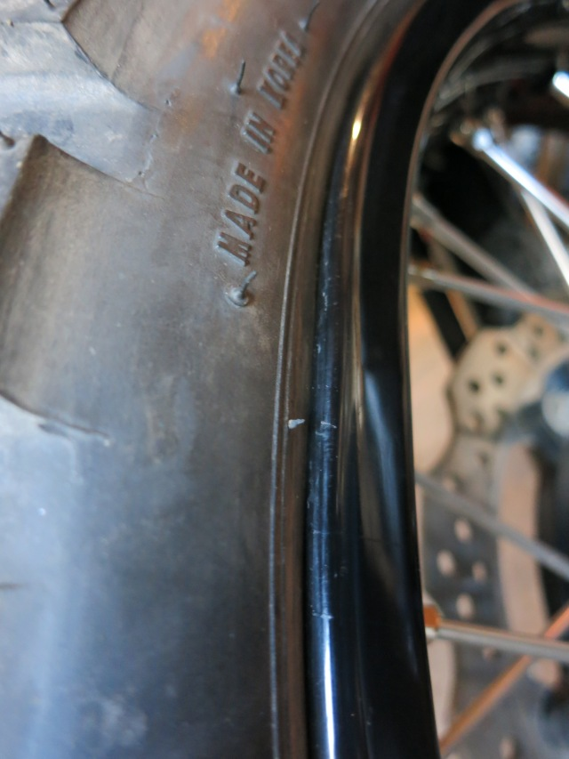 Slightly bent front rim (and did you know these Conti tires were made in Korea?