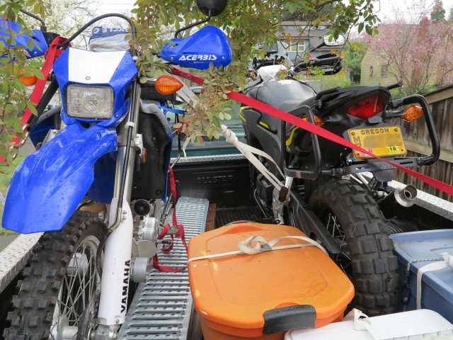 Bikes and gear loaded on the truck