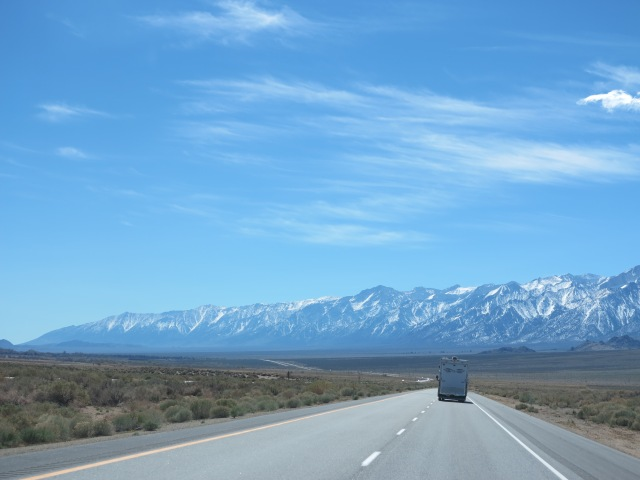 Close to the entrance to Death Valley, following Scott's RV.