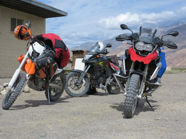 KTM 500 EXC, Honda CB500X Adventure, and BMW R1200GS