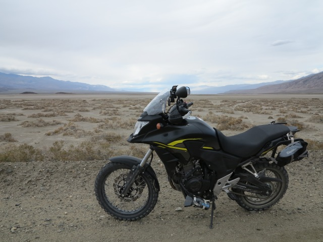 "The 2015 Honda CB500X, with Rally Raid Level 3 ""adventure"" kit, in Death Valley, 2016"