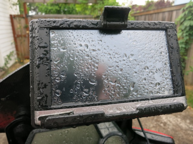 The Nuvi 2497 during a rain shower.