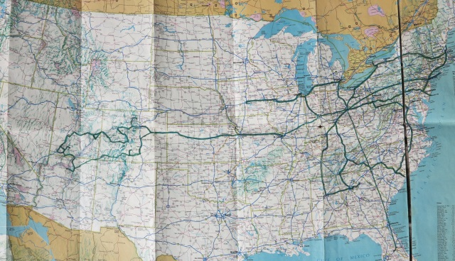 My first map of the USA, with two years of travel documented. This map is old...