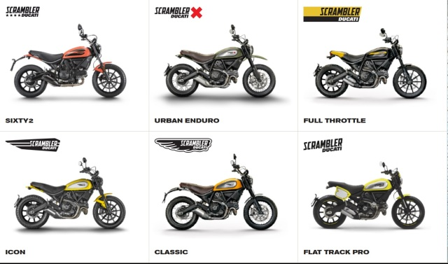 The six versions which, with the addition of the Italia Independent make the Scrambler Ducati choices today. Tomorrow, though...